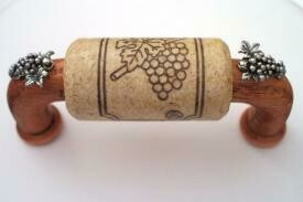 Vine Designs Cherry Cabinet Handle, natural cork, silver grapes accents