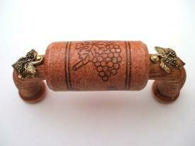 Vine Designs Cherry Cabinet Handle, matching cork, gold leaf accents