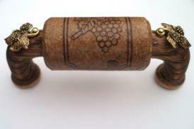 Vine Designs Espresso Cabinet Handle, matching cork, gold leaf accents