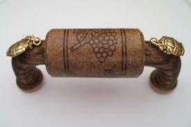 Vine Designs Espresso Cabinet Handle, matching cork, gold barrel accents