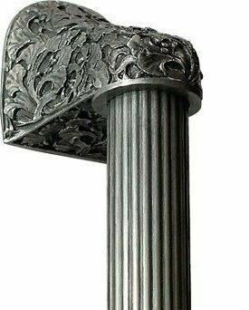 Notting Hill Cabinet Hardware Florid Leaves/Fluted Bar Antique Pewter Overall 14