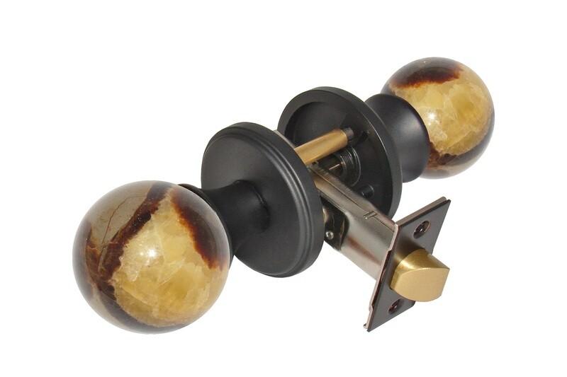 Gemstone Hardware Door Knob Septarian Matte Black Passage 2-3/8