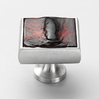 MOOD AUSTRALIA Satin Pewter Tanned Crocodile Hornback Square Cabinet Knob -111-BROWN