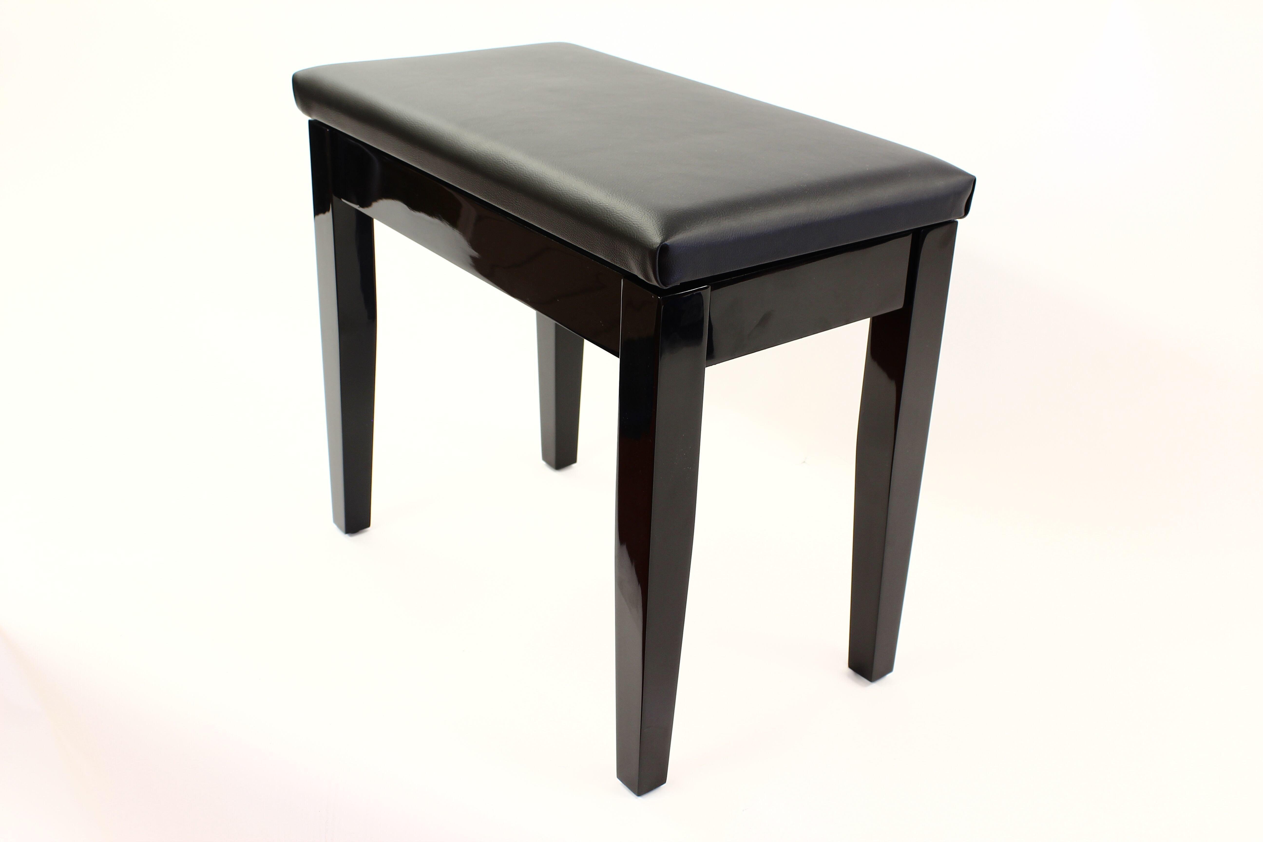 Coda Piano Stool Black with Storage