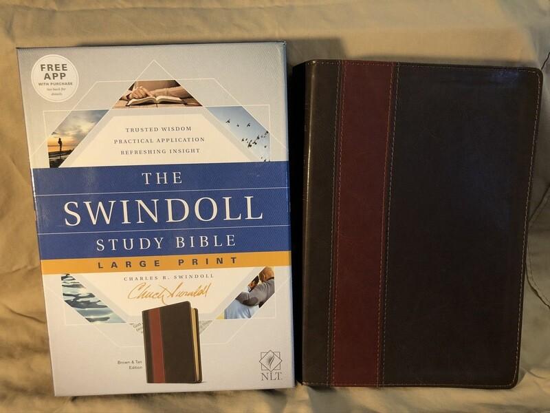 NLT Swindoll Large Print Brown Bible
