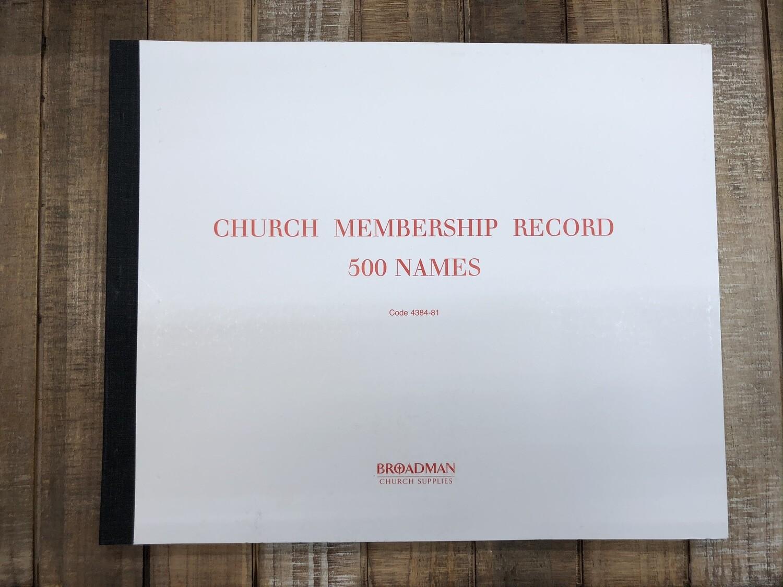 Church Membership Record Book