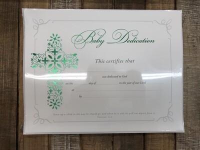 Baby Dedication Green Foil Certificates