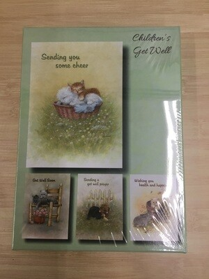 Fuzzy Friends Get Well Boxed Cards