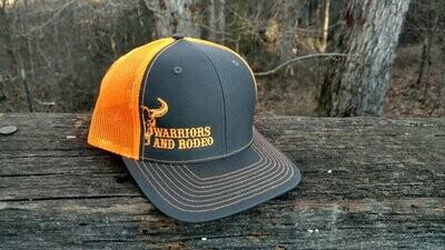 Warriors and Rodeo Grey/Neon Orange Hat