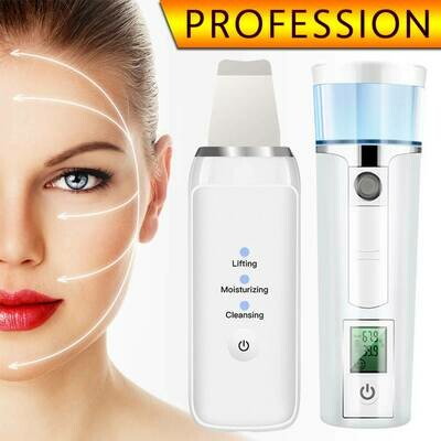 2in1 Facial Cleaning Machine Sets Ultrasonic Skin Scrubber Face Steamer Portable Nano Sprayer SPA Nebulizer Care Moisture Device