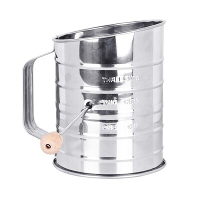 Mrs Anderson's 3 Cup Stainless Steel Crank Flour Sifter
