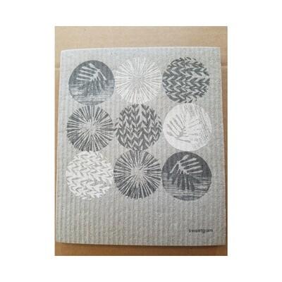 Sweetgum Compostable Cloth - Circular Abstract Plants on Grey