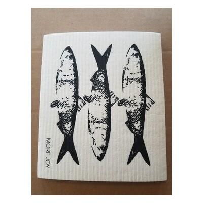 Compostable Cloth - Black & White Fish