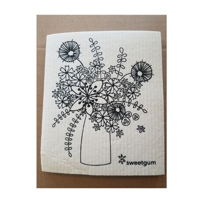 Compostable Cloth - Black & White Flowers in Vase