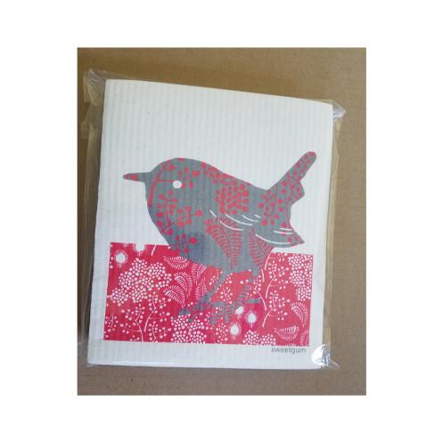 Compostable Dishcloth - Red & Grey Bird
