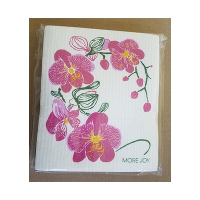 Sweetgum Compostable Cloth - Pink Orchids on White
