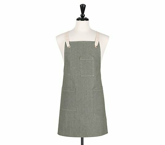 KAF Home Crossback Apron - Chambray Green