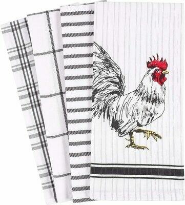KAF Home Set of 4 Kitchen Towels - Rooster