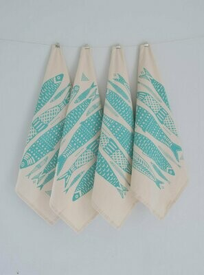 Hearth & Harrow Set of 4 Organic Cotton Napkins - Sardines