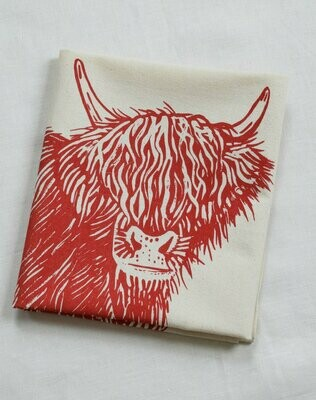Hearth & Harrow Organic Cotton Tea Towel - Highland Cow