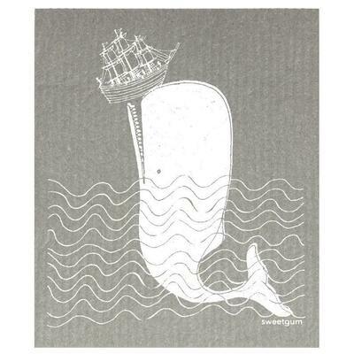 Compostable Dishcloth - Grey Whale & Ship