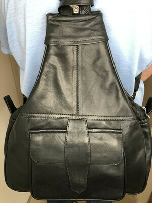 Black Leather Rucksack Cross-Body bag