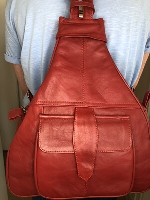 Dark Red Leather Rucksack Cross-Body bag