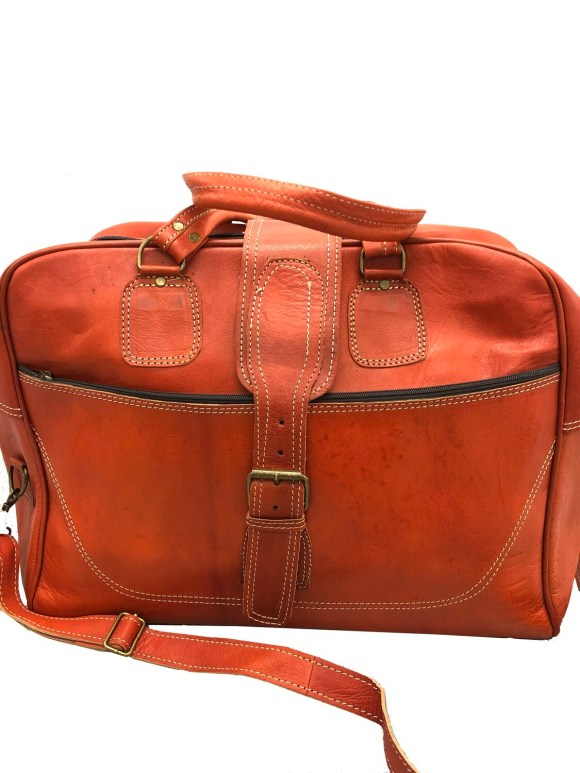 Burnt Orange Leather Weekend Bag