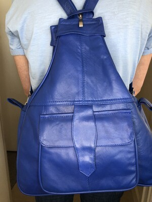 Blue Leather Rucksack Cross-Body bag