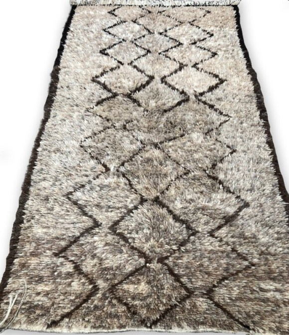 Handmade Beni Ourain Wool Rug 240 x 130 cm
