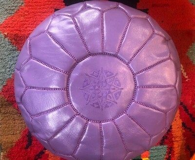Hand Made Moroccan Violet Leather Pouffe
