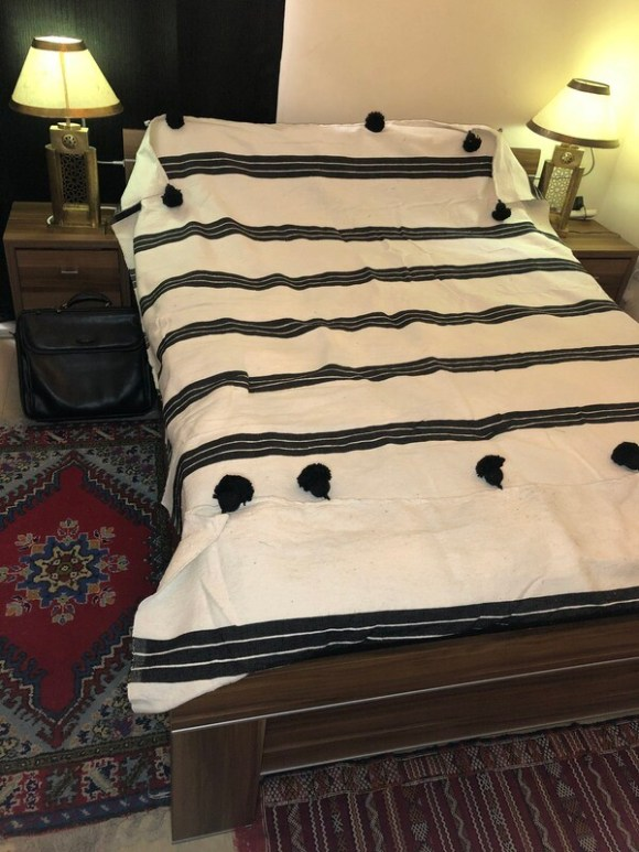 Moroccan Bedspread/Throw with Pompoms - Cream/Black Striped
