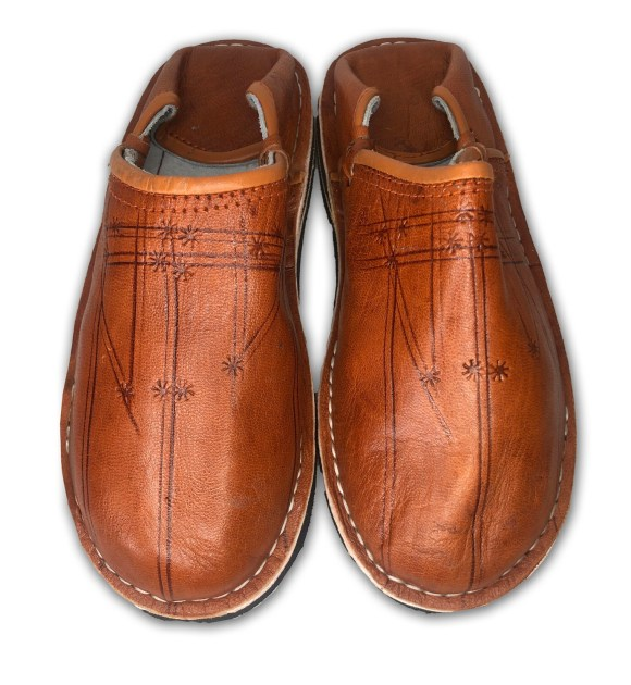 Men's Dark Tan Organic Leather Moroccan Babouche Slippers