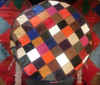 Hand Made Moroccan Multi-Coloured Patchwork Leather Pouffe