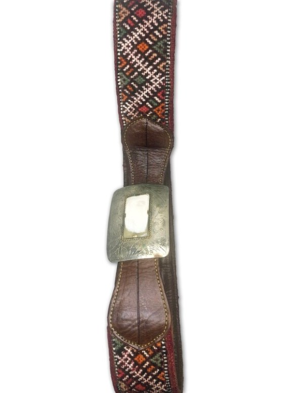 Women's Handmade Moroccan Brown Leather Kilim belt with Handcrafted Square Buckle