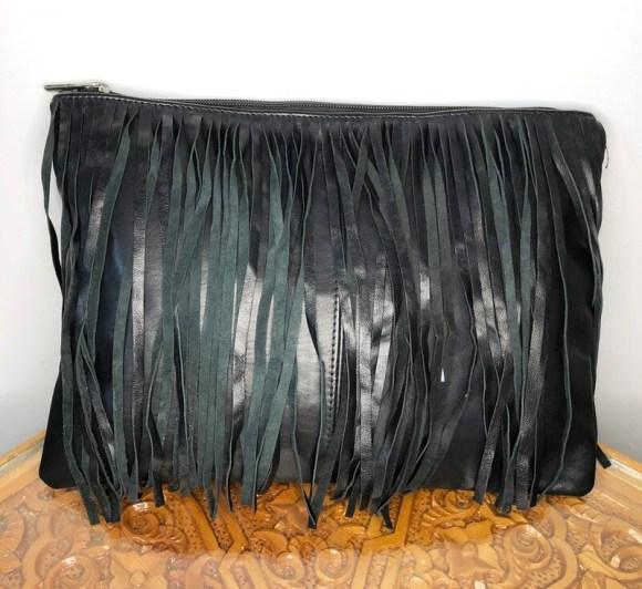 Black Moroccan Leather Tasselled Clutch Bag