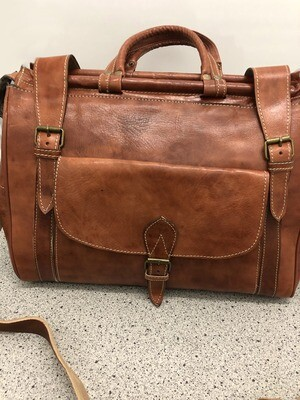 Tan Moroccan Leather Weekend Bag
