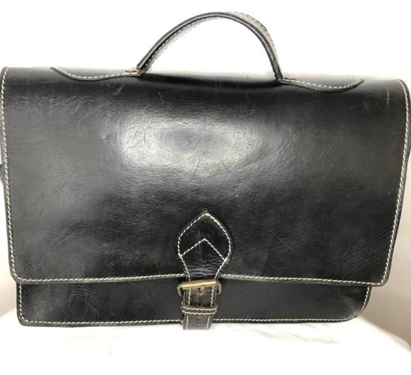 Black Moroccan Leather Messenger Bag