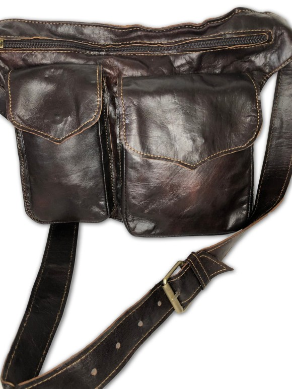 Dark Brown Moroccan Leather Cross Body Utility Bag