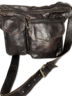 Dark Brown Moroccan Leather Cross Body Utility Bag