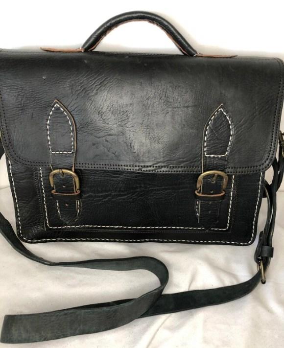 Black Moroccan Leather Satchel or School Bag