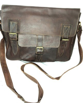 Dark Brown Moroccan Leather Satchel or School Bag