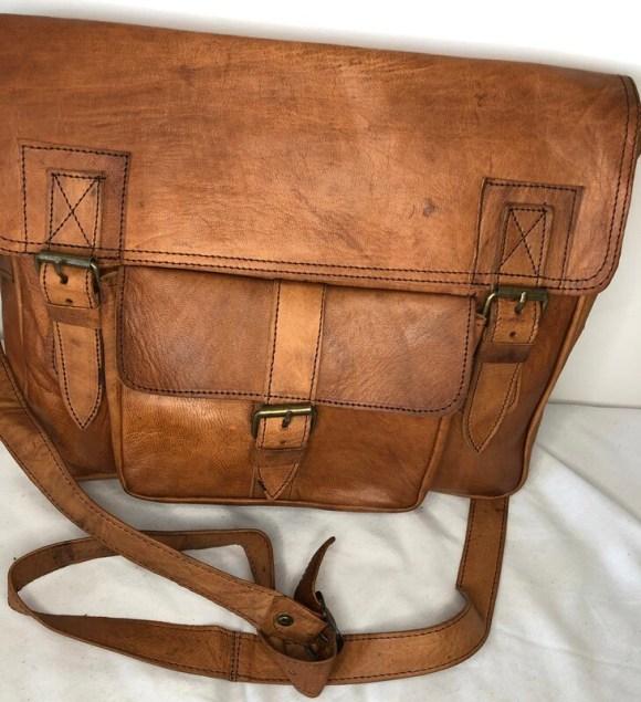 Tan Moroccan Leather Satchel or School Bag