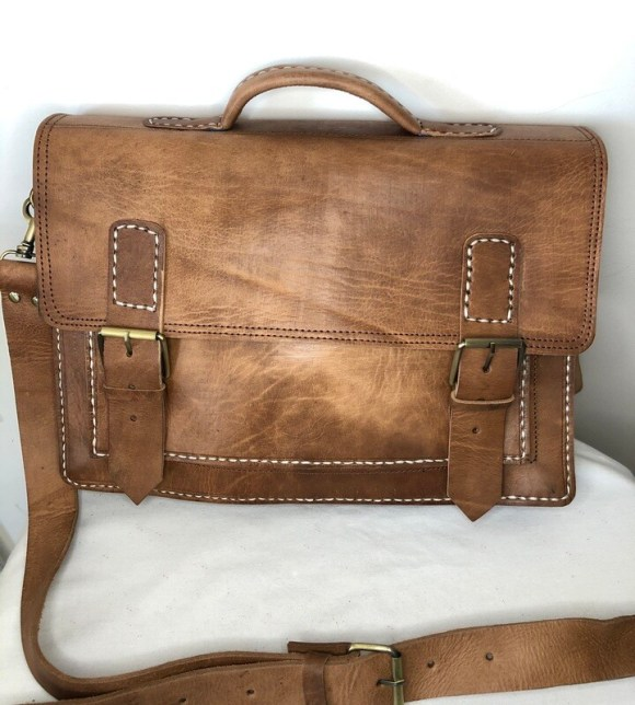 Light Brown Moroccan Leather Satchel or School Bag