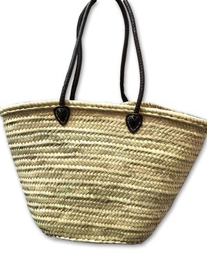 Basket with leather handles (black)