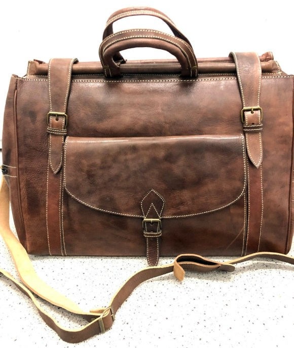 Brown Moroccan Leather Weekend Bag