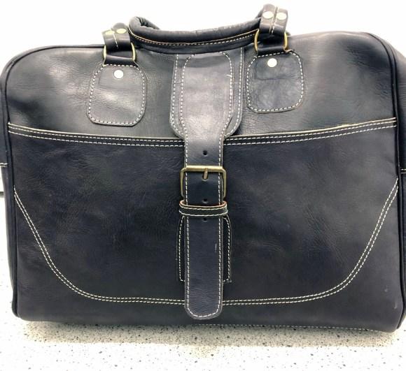 Black Leather Weekend Bag
