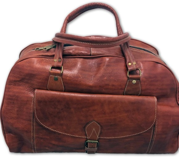 Dark Tan Moroccan Leather Weekend Bag
