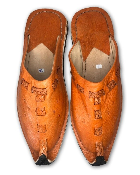 Men's Pointed Orange Organic Leather Moroccan Babouche Slippers