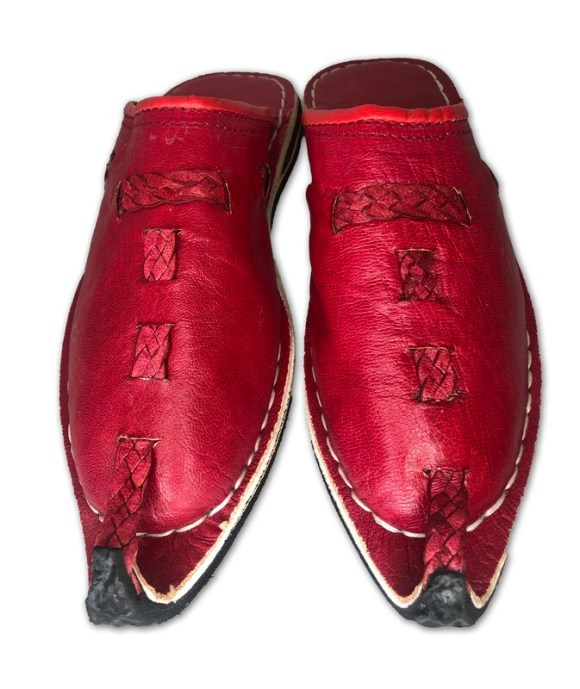 Men's Pointed Red Organic Leather Moroccan Babouche Slippers